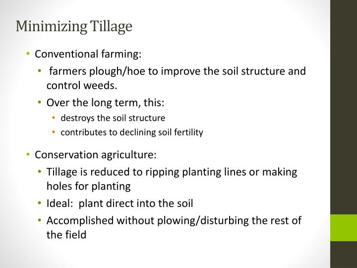Minimizing Tillage