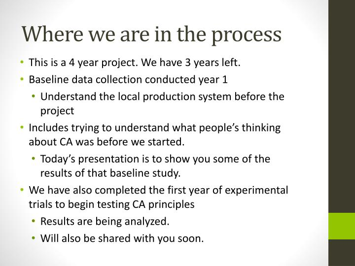 Where we are in the process
