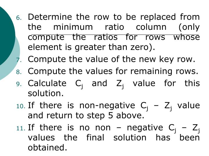 Determine the row to be replaced from the minimum ratio column (only compute the ratios for rows whose element is greater than zero).
