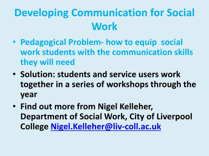 Developing Communication for Social Work