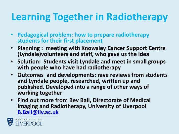 Learning Together in Radiotherapy