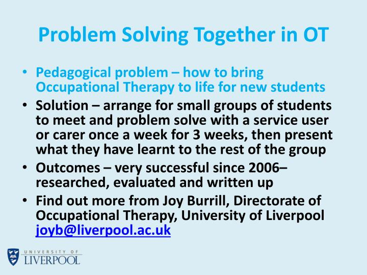 Problem Solving Together in OT