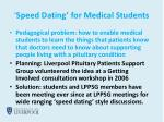 speed dating for medical students