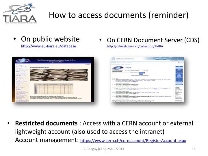 How to access documents (reminder