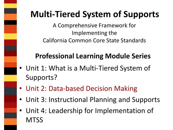 Multi tiered system of supports