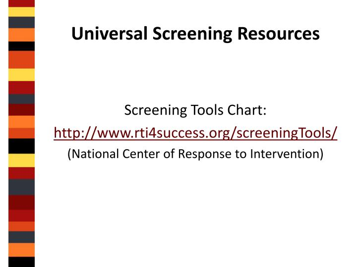 Universal Screening Resources