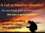 a call to stephen ministry