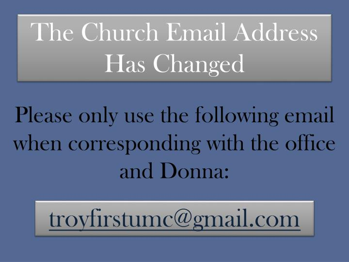 The Church Email Address Has Changed