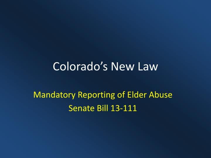 Colorado's New Law