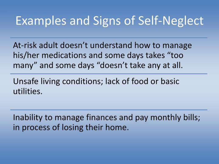 Examples and Signs of Self-Neglect