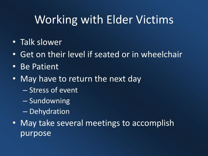 Working with Elder Victims