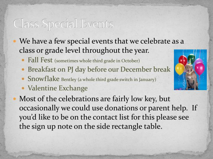 Class Special Events