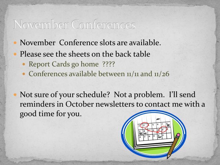 November Conferences