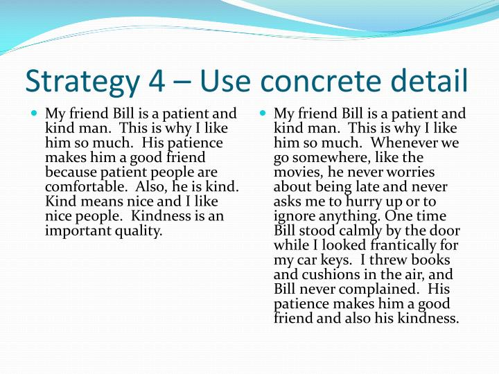 Strategy 4 – Use concrete detail