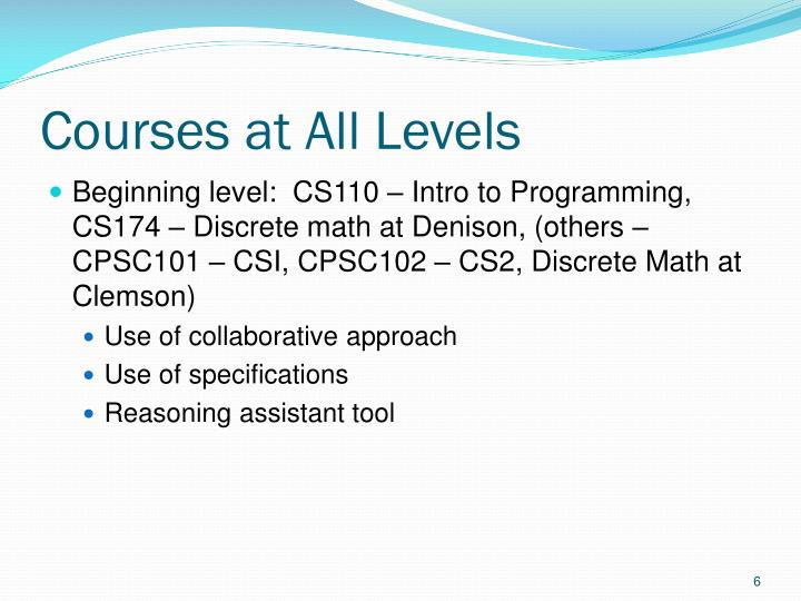 Courses at All Levels