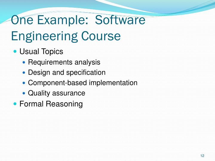One Example:  Software Engineering Course