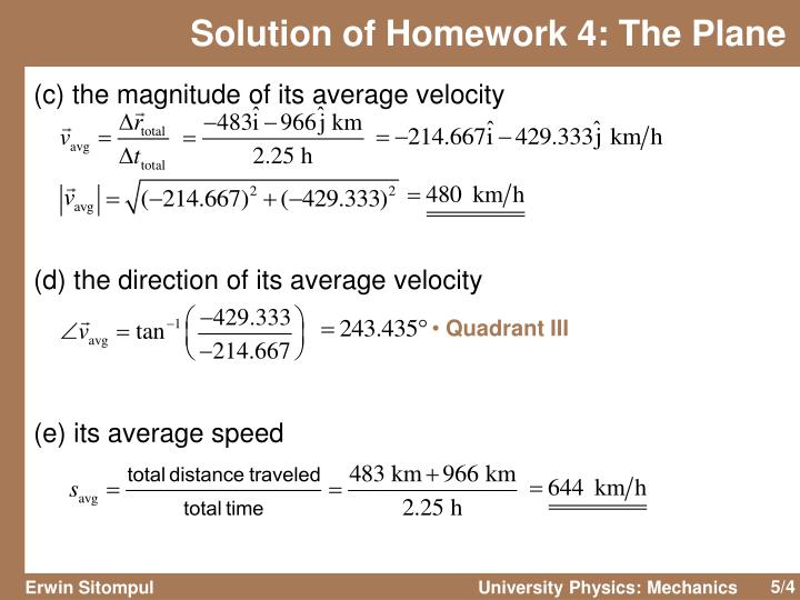 Solution of Homework 4: The Plane