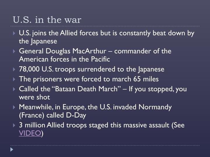 U.S. in the war