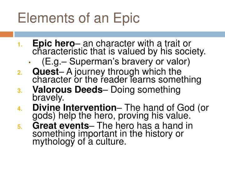 Elements of an Epic