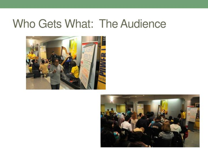 Who Gets What:  The Audience