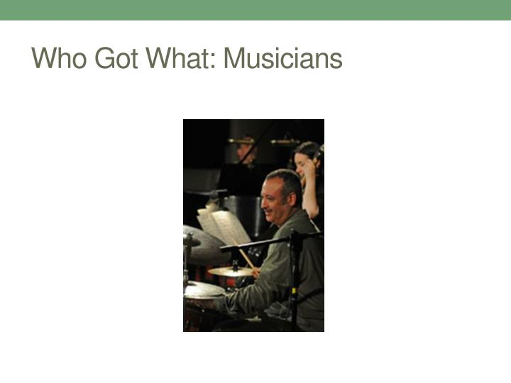 Who Got What: Musicians