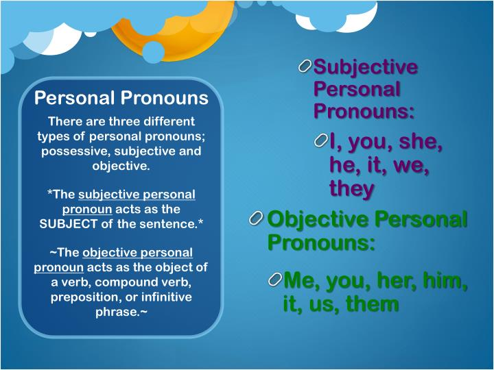 Subjective Personal Pronouns: