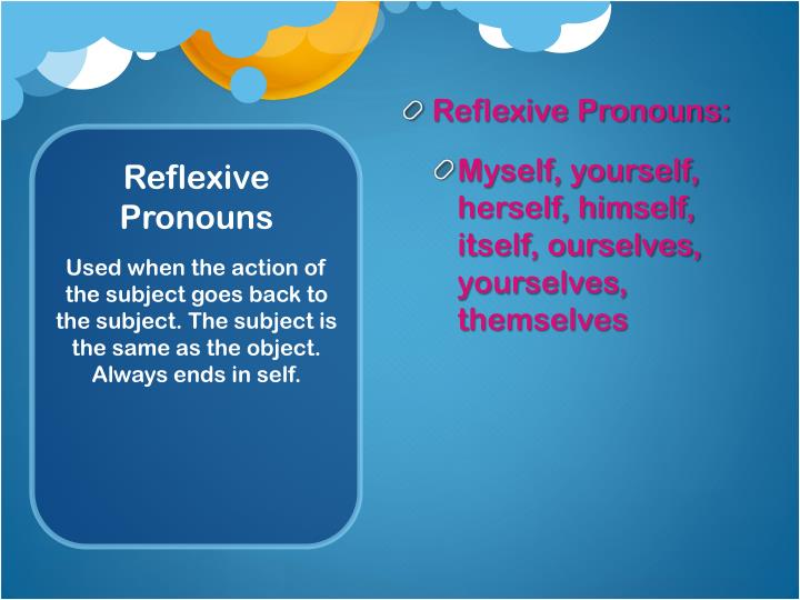 Reflexive Pronouns:
