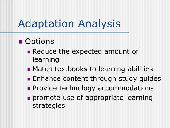 Adaptation Analysis