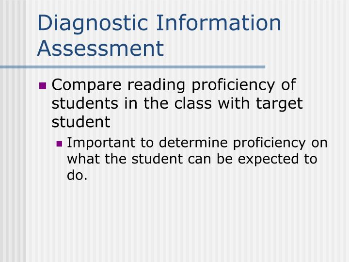 Diagnostic Information Assessment