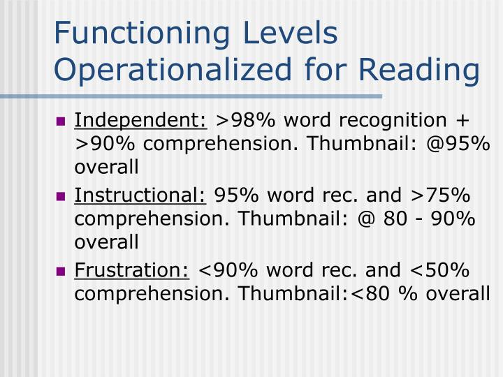 Functioning levels operationalized for reading