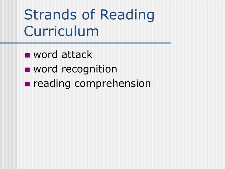 Strands of Reading Curriculum
