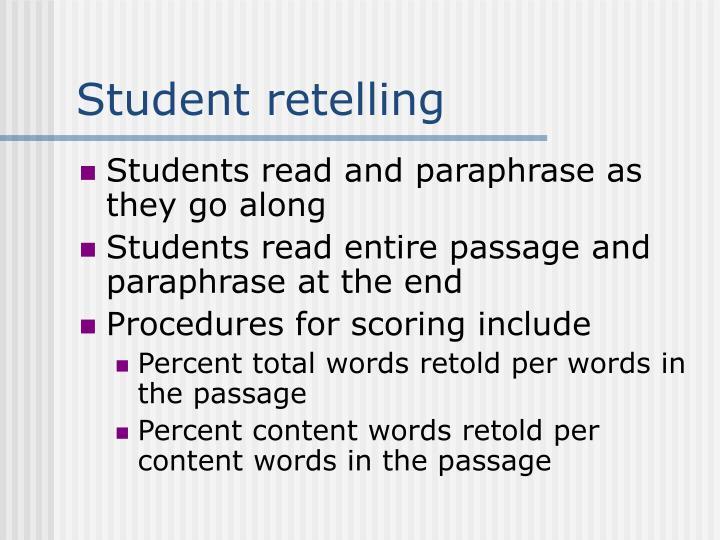 Student retelling