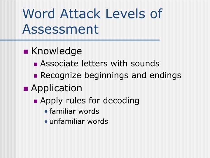 Word Attack Levels of Assessment