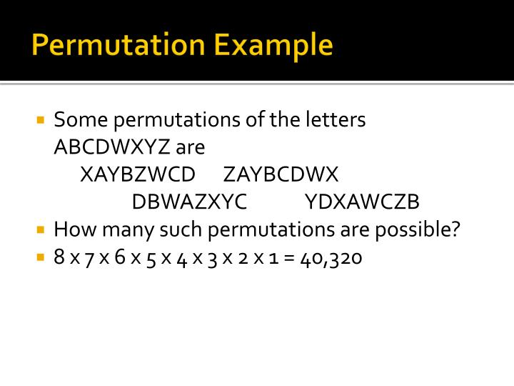 Permutation example