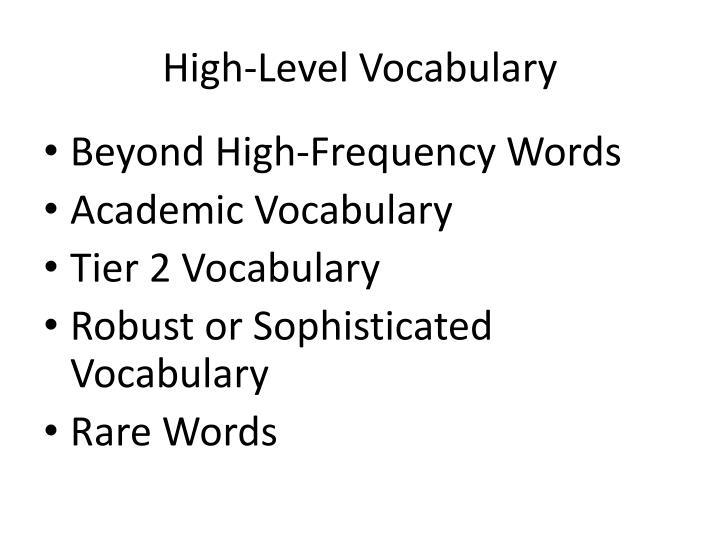 High-Level Vocabulary