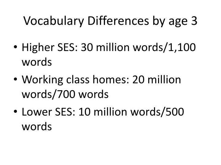 Vocabulary Differences by age 3