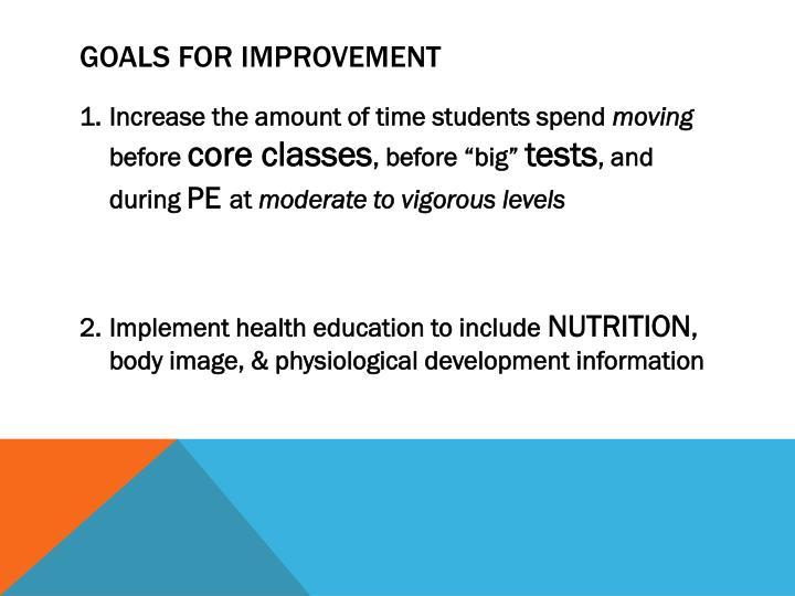 Goals for improvement