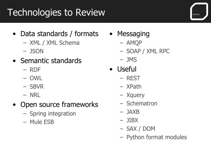Technologies to Review