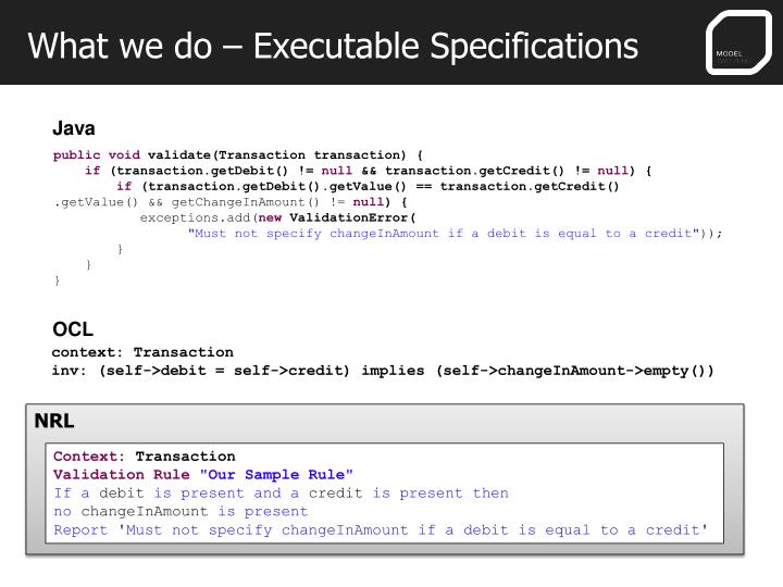 What we do – Executable Specifications