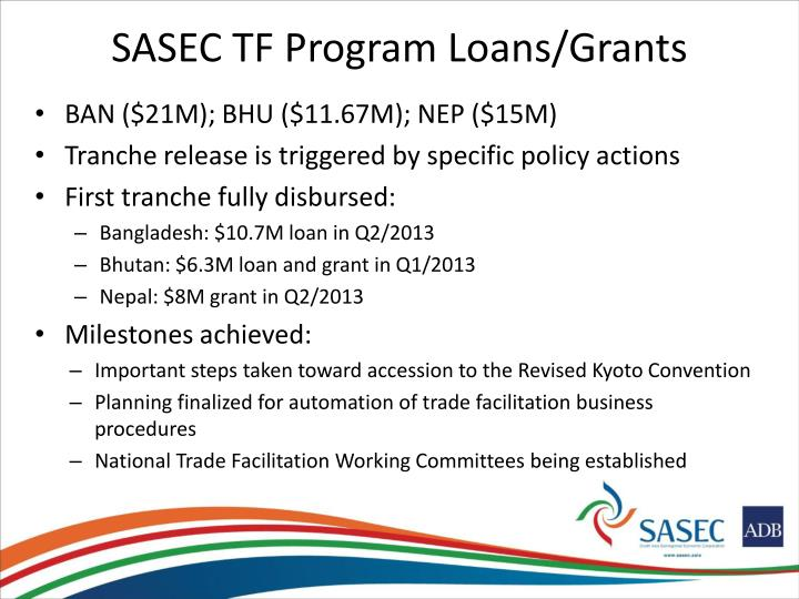 SASEC TF Program Loans/Grants