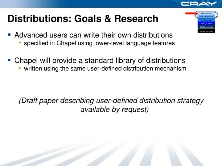 Distributions: Goals & Research