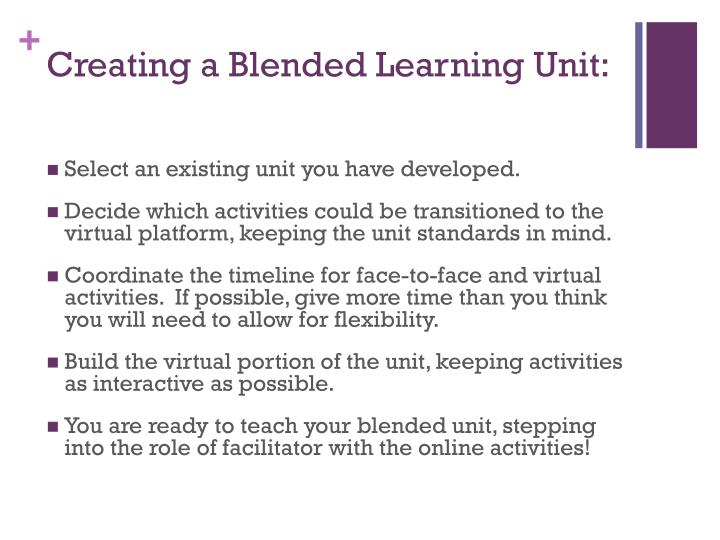 Creating a Blended Learning Unit: