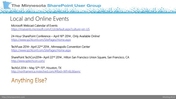 Microsoft Webcast Calendar of Events