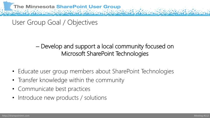 User group goal objectives