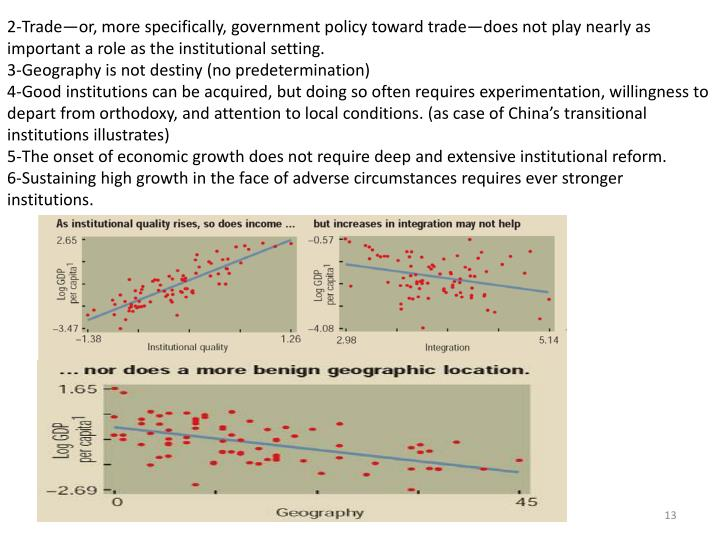 2‐Trade—or, more specifically, government policy toward trade—does not play nearly as important a role as the institutional setting.