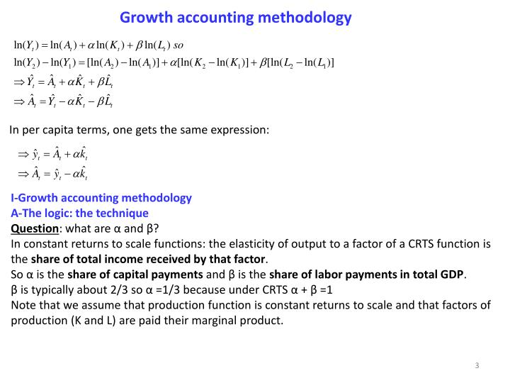 Growth accounting methodology
