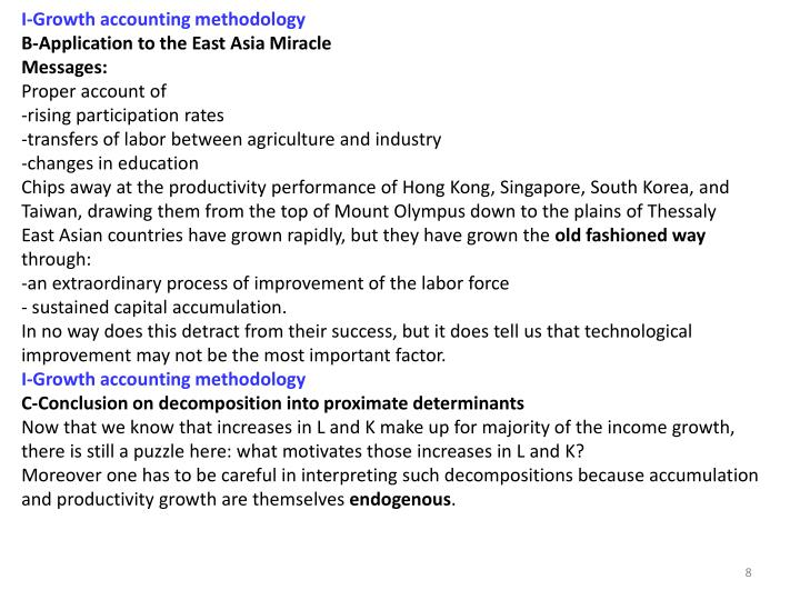 I‐Growth accounting methodology
