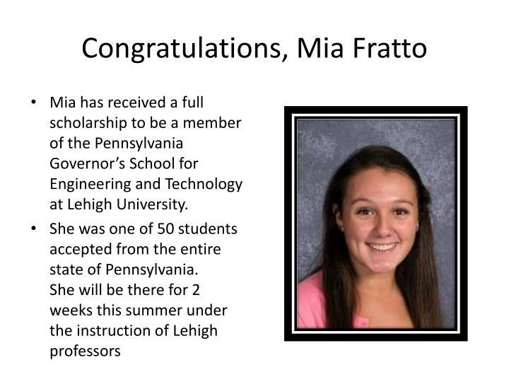 Congratulations, Mia