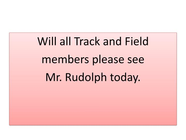 Will all Track and Field