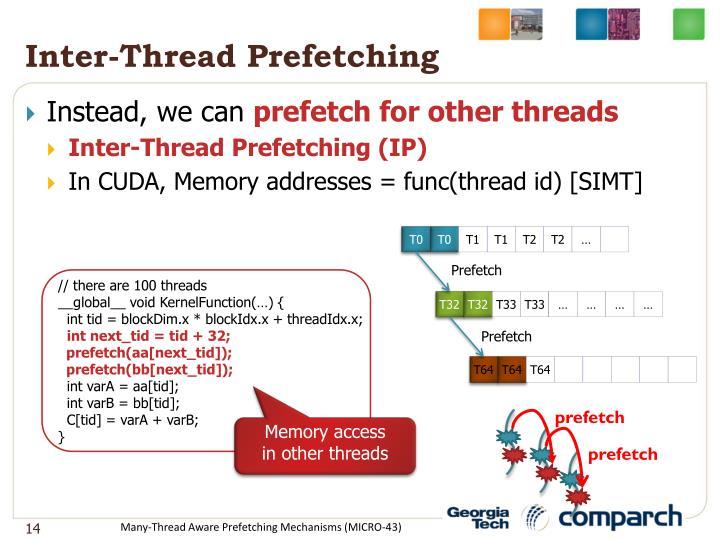 Inter-Thread Prefetching